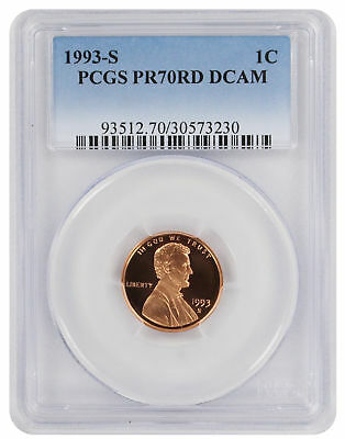1993-S Lincoln Cent PR70RD DCAM PCGS Proof 70 Red Deep Cameo