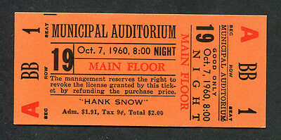 Original 1960 Country Music Full Unused concert ticket Hank Snow I'm Movin On