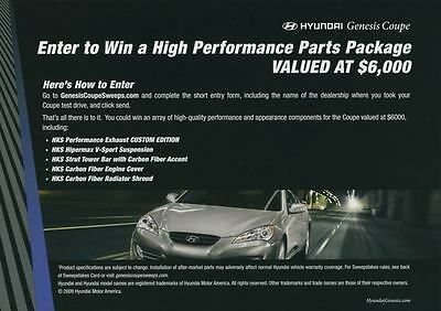 2010 Hyundai Genesis Coupe ORIGINAL Large Factory Postcard my1638