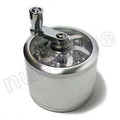Silver Tobacco Herb Crusher Grinder Hand Crank Aluminum Screen Spice Muller