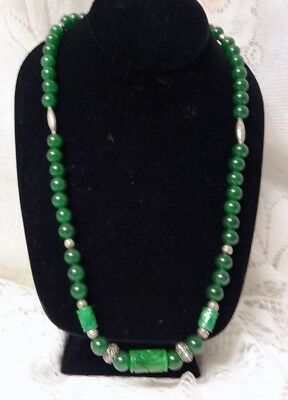 BEAUTIFUL Chinese Asian Natural Green Jade Sterling Silver Hand Carved Necklace