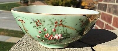 Antique Japanese Meiji Era Seto Celadon Bowl!  Raised Decoration!