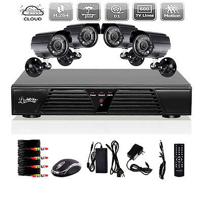 8 CH Channel H.264 DVR 4 Outdoor Night 600TVL Home CCTV Security Camera System