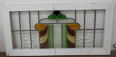 """OLD ENGLISH LEADED STAINED GLASS WINDOW TRANSOM Abstract design 35.5""""x17.25"""""""
