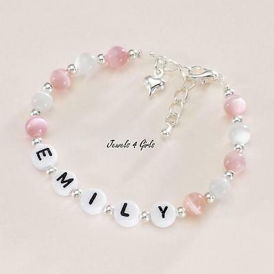 Girls Personalised Name Bracelet with Heart Charm. Many Colours. Size Adjustable