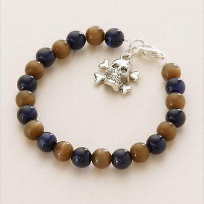 Boys Pirate Bracelet,  Skull Charm, Black, Brown, Navy Etc