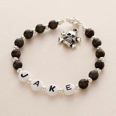 Boys Personalised Bracelet with Any Name, Skull Charm Bracelet, Colour Choice