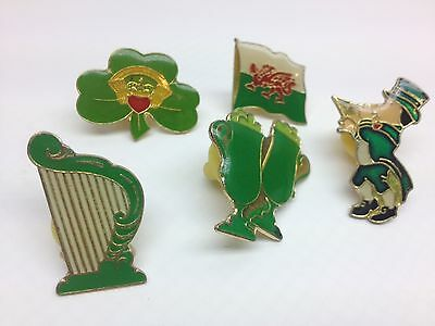 VTG Lot of 5 St. Patricks Day Enamel PINS LAPEL clover Shamrock Claddagh SP1