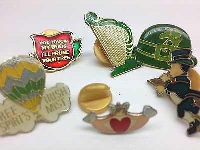 VTG Lot 6 St. Patricks Day Enamel PINS LAPEL lucky clover Shamrock Claddagh SP3