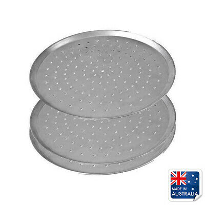 """3x Pizza Pan / Tray 330mm 13"""", Aluminium Perforated Plate, Round Oven Tray"""