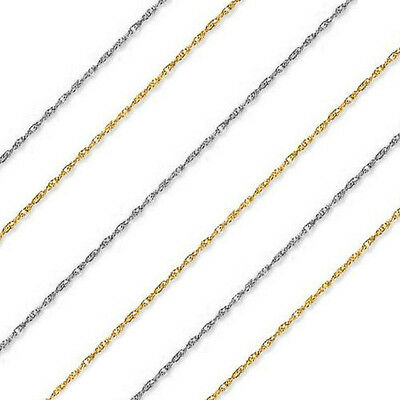 """14k Solid Yellow or White Gold 1 mm Thick Rope Chain - 13"""" 15"""" 16"""" 18"""" 20"""" 22"""""""