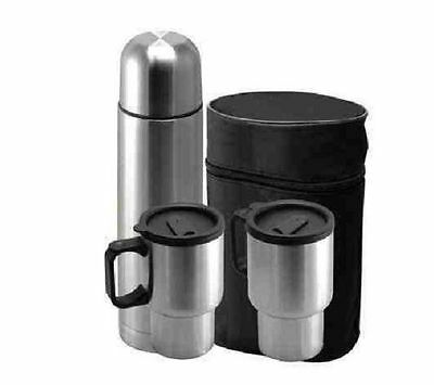 4 Piece Stainless Steel Travel Mug Set w/ Thermos & Travel Carry Case