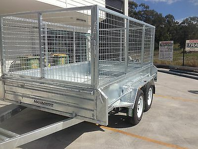 8x5 9X5 10X5 10X6 12X6 TANDEM GALVANISED MAXIM TRAILERS CAGED  CAIRNS box