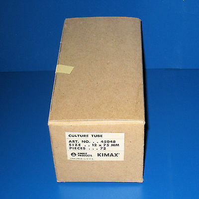 Box of 72 Culture Tubes without lip, 12 X 75mm, KIMAX (Kimble 45048) NOS