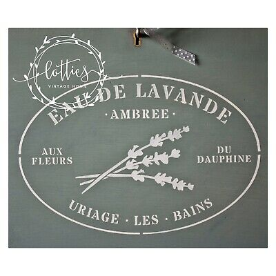 A4 Stencil French Farmhouse EAU DE LAVANDE Furniture Shabby Chic ❤ 190 MYLAR