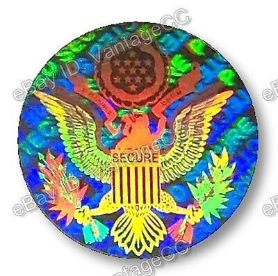 US Eagle Security Hologram Stickers Labels, 15mm Round, Presidential, VOID