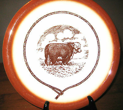 Two Syracuse China Of Canada Western Ware Plates ( 2 )  Texas Steer Design