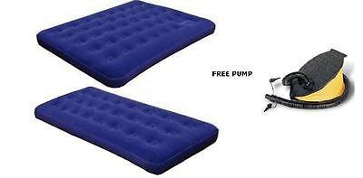 Inflatable Single Double Airbed Mattress Flocked Camping Relaxing Free Pump