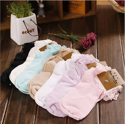 Fashion Lady Women Girl  Retro 6 Colors Lace Ruffle Frilly Cotton Ankle Socks
