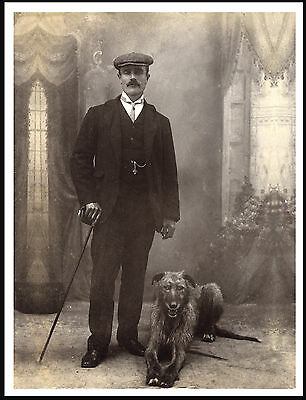 Lurcher Deerhound Man And His Dog Lovely Vintage Style Image Dog Print Poster