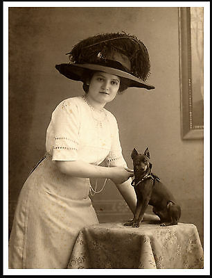 Miniature Pinscher And Lady Wearing A Large Hat Lovely Image Dog Print Poster