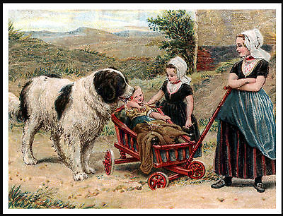 Newfoundland And Children With Cart Charming Dog Print Poster