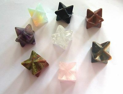 MERKABA CRYSTAL STAR  HEALING REIKI Amethyst Opalite Rose Quartz Tiger Eye Gold