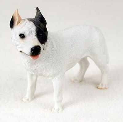 PIT BULL TERRIER DOG WHITE Figurine Statue Hand Painted Resin Gift Pet Pitbull
