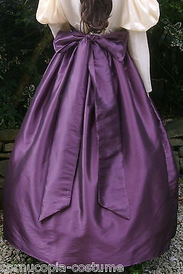 Ladies SKIRT & SASH Victorian / Edwardian costume gentry fancy dress , aubergine