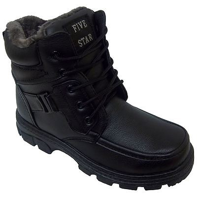 Five Star FL-32 Mens Black Winter Warm Lined  Lace Up Winter Snow Boots