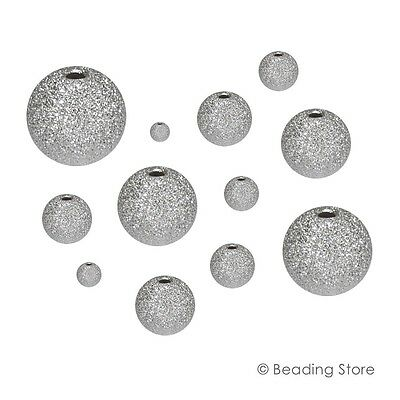 Various Sizes 925 Sterling Silver Stardust Star Dust Sparkle Round Bead Beads