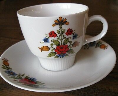 Mitterteich Bavaria, 1 CUP and 2 SAUCERS, red blue flowers