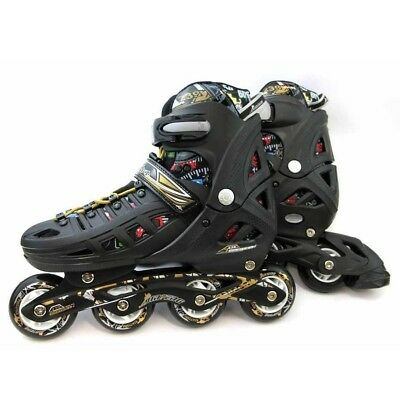 New Jf239 Adjustable Inline Roller Bladers Skates Carrybag Size L 38-41 Blk