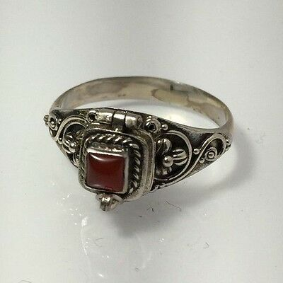 Sterling Silver  .925 Ring Poison With Carnelian 9 1/4