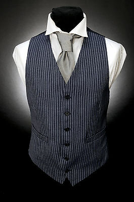 W - 518 Airforce Blue With Double Navy Pinstripe Formal Waiter Waistcoat