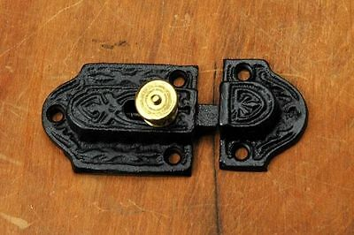 Victorian Eastlake Cast Iron Cabinet Latch Brass Knob VH11091401