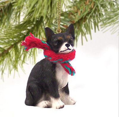 CHIHUAHUA TAN w// DRUM DOG CHRISTMAS ORNAMENT HOLIDAY XMAS Figurine Scarf gift