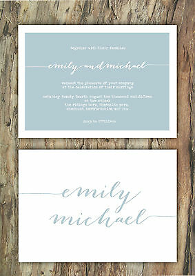 Personalised Typography Duck Egg Blue Wedding Invitations Packs Of 10