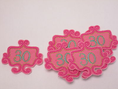 Set of 10 Embroidered 30th Birthday Pink Bead Card Making Motifs Patches #12L136