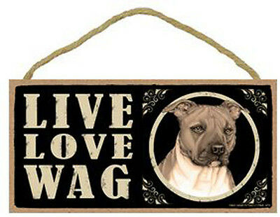 "Live Love Wag Pitbull Sign Plaque Dog 10"" x 5"" pet gifts Pit Bull"