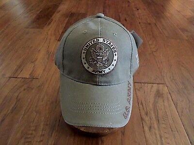 U.s Military Army Khaki Hat Ball Cap Embroidered Army On Bill