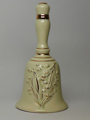 "Vintage Ceramic Bell with Gold Accents - 7-1/2"" high"