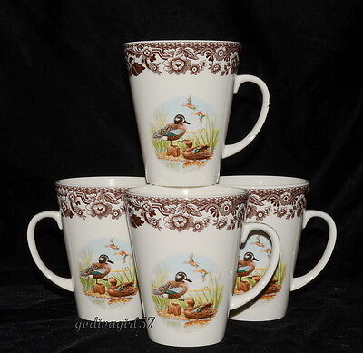 Spode * Woodland - Blue Winged Teal * 4 Mugs * Ducks * 14oz * New/Tags!