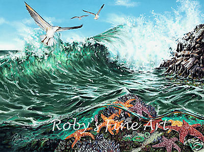 "Seascape Art Print ""Rock Stars"" Ocean Wave Starfish Seagull 5x7 by Roby Baer PSA"