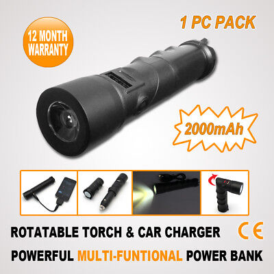 LED FLASHLIGHT TORCH POWER BANK External Backup Battery Charger for MobilePhone