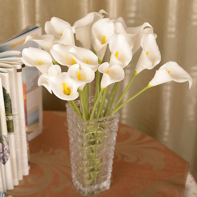 white Artificial Fake Silk Flower Calla Lily Bridal Bouquet head Party Decor one