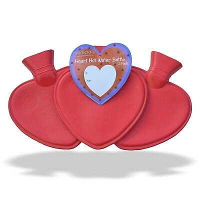 3x Pack Luxury Heart Shaped Hot Water Bottles - Warm Winter Ribbed Heat Pad