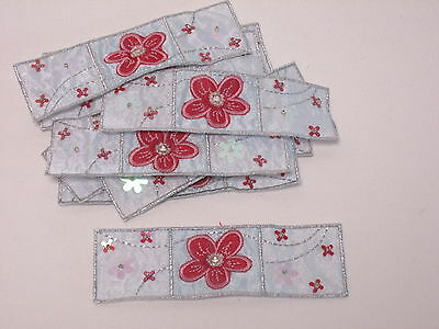 Set of 10 Embroidered Card Making Motifs Purple Sequin Sparkly Flower #7R42