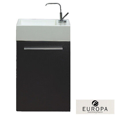 Europa Alpine 400mm Black Wood Wall Hung Cabinet & 1TH Basin