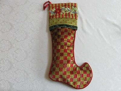 Mackenzie Childs TALL TALE ORCHARD CHECK POINSETTIA CHRISTMAS STOCKING NEW $175